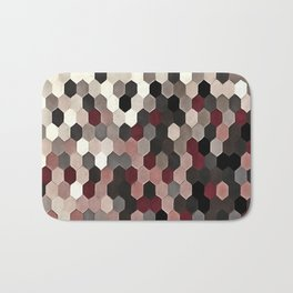 Hexagon Pattern In Gray and Burgundy Autumn Colors Bath Mat