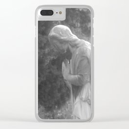 angel on the grave Clear iPhone Case