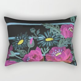 Watercolor Poppies on a striped background. 2 Rectangular Pillow