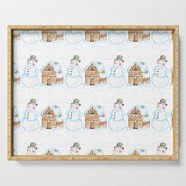Christmas Snowman Pattern Serving Tray