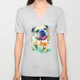 Watercolor Bulldog Unisex V-Neck
