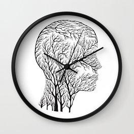 Head Profile Branches - Black Wall Clock