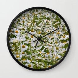 White and Yellow Daisies Wall Clock