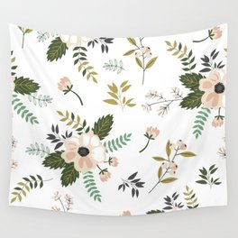 Winter floral - snowy blush petals Wall Tapestry