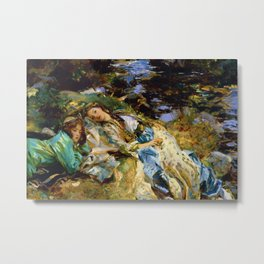 1907 Classical Masterpiece 'The Brook' by John Singer Sargent Metal Print
