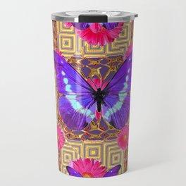 Purple Butterflies Pattern Purple-Pink Flowers Gold Art Travel Mug