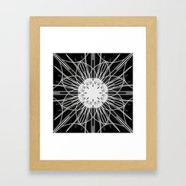 Black and White Mandala Flower Framed Art Print