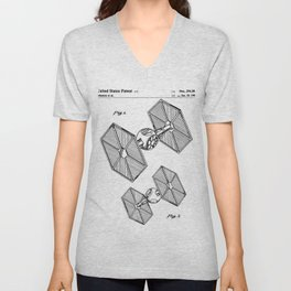 Starwars Tie Fighter Patent - Tie Fighter Art - Black And White Unisex V-Neck