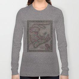 Vintage Nova Scotia and New Brunswick Map (1866) Long Sleeve T-shirt