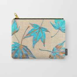 Japanese maple leaves - turquoise and gold on unbleached paper Carry-All Pouch