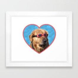 Swimmer Dog Framed Art Print