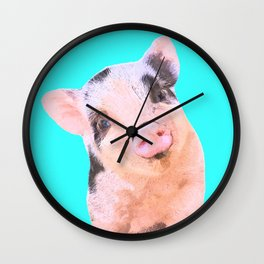 Baby Pig Turquoise Background Wall Clock