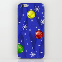Christmas balls with background iPhone Skin