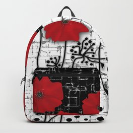 Retro. Red poppies on white background sulfur. Applique. Backpack