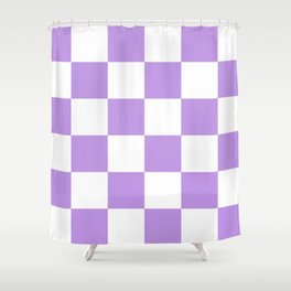Large Checkered - White and Light Violet Shower Curtain