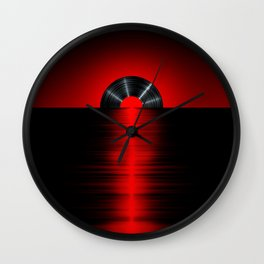 Vinyl sunset red Wall Clock