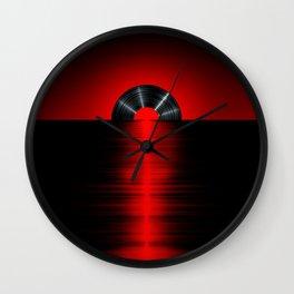 Vinyl sunset red Wall Clock