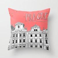prague Throw Pillows featuring Prague by jeune-jaune