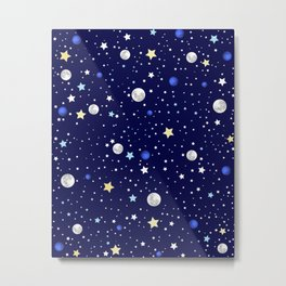 Universe pattern; Moon, Stars and Neptune Metal Print