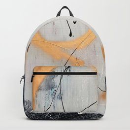Midnight Time Lapse: a minimal, abstract mixed-media piece by Alyssa Hamilton Art in Gold, Black Backpack