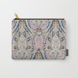 Pink Blue Green Leaf Flower Paisley Carry-All Pouch