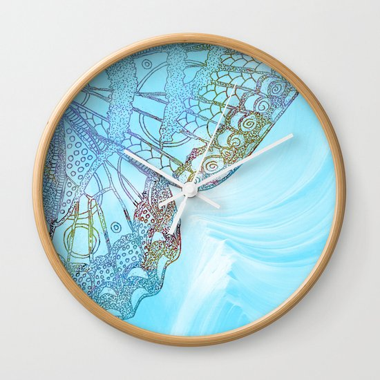 colorful abstract butterfly design wall clock by