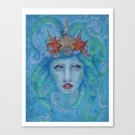 ocean princess Blue siren with octopus tentacles for hair star fish pearls and bubbles Canvas Print