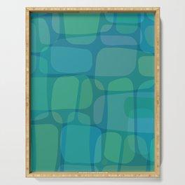 Walls of Atlantis (organic pattern in cool ocean hues) Serving Tray