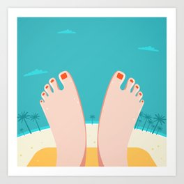 Feet on Beach Art Print