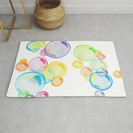 Rainbow Pastel Bubbles Floating Rug