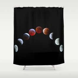 Moon Phases (Blood Moon) Shower Curtain