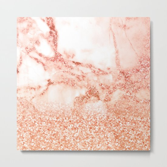 Sparkly Peach Copper Rose Gold Ombre Bohemian Marble Metal Print