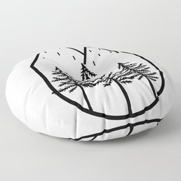 Snowy Mountain Tops And Black Tree Floor Pillow