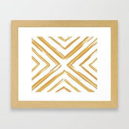 Minimalistic Gold Paint Brush Triangle Diamond Pattern Framed Art Print