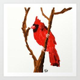 Cardinal on a Branch Art Print