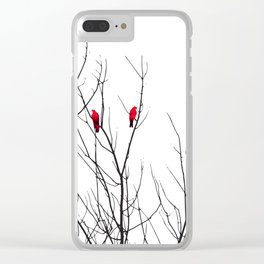 Artistic Bright Red Birds on Tree Branches Clear iPhone Case