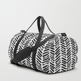 Simple black and white handrawn chevron - horizontal Duffle Bag