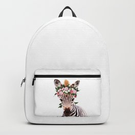 Baby Zebra With Flower Crown, Baby Animals Art Print By Synplus Backpack
