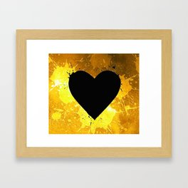 Yellow Watercolor splashed heart texture Framed Art Print