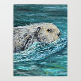 Ooh Goody Lunchtime Sea Otter Painting Poster