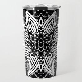 Black and White Flower Mandala Travel Mug