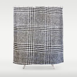 Black & White Check Textile Shower Curtain