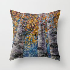 Aspen Trees by OLena Art Throw Pillow