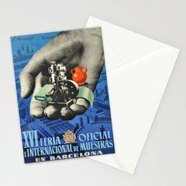 old placard barcelona xvi feria oficial e Stationery Cards