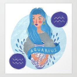 Aquarius Zodiac Illustration Art Print