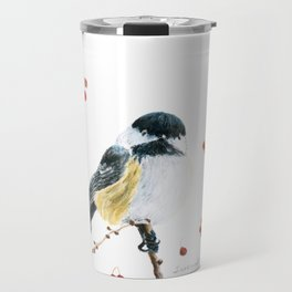 Christmas Chickadee by Teresa Thompson Travel Mug