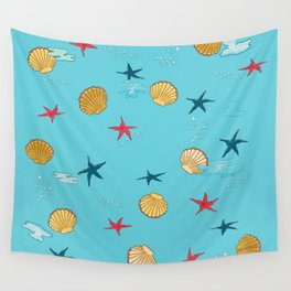 seashells and starfishes - blue Wall Tapestry