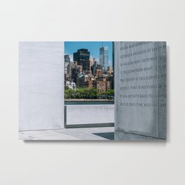 Manhattan midtown buildings view from Franklin D. Roosevelt Four Freedoms Park on Roosevelt Island Metal Print