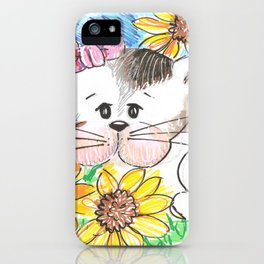 Marisol y los girasoles, the cat and the Sunflowers iPhone Case