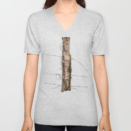 Barbed wire & Fence Post (in the snow) Unisex V-Neck